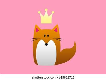 Cute cartoon fox princess