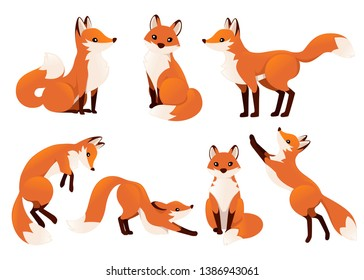 Cute cartoon fox set. Funny red fox collection. Emotion little animal. Cartoon animal character design. Flat vector illustration isolated on white background.