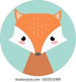 Cute cartoon fox. Vector animal.