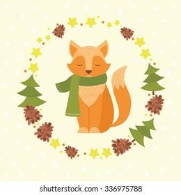 Cute cartoon fox with wreath, tree, stars, bump. Vector illustration. Kids forest animal.