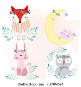 Cute cartoon foxy fox wolf,rabbit bunny,owl bird,cat kitty kitten in the flower garden character warm and satisfied, happy pattern by hand draw doodle comic style,animal set vector design