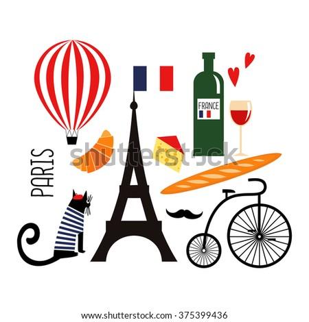Cute Cartoon French Culture Symbols Wine