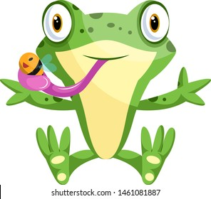 Cute cartoon frog catching a bee, illustration, vector on white background.