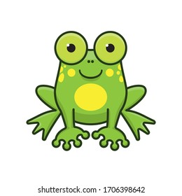 Cute cartoon frog isolated vector illustration for Save The Frogs Day on April 25th. Amphibian animal color character symbol.