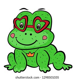 A cute cartoon frog prince fairy tale with glasses in shape of heart and the decoration of the crown pendant. Valentine's Day. Little cute green frog smiles. The sweet feeling of love. Vector