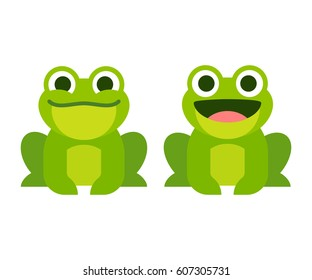 Cute cartoon frog set, smiling and croaking animation frames. Simple flat style vector illustration.