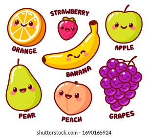 Cute cartoon fruits with funny kawaii faces. Orange and banana, apple and pear, peach, grapes and strawberry. Isolated vector illustration set.