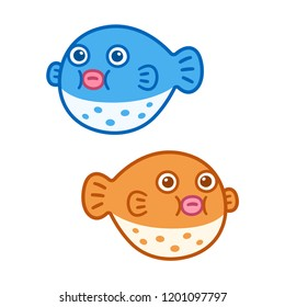 Cute cartoon Fugu (puffer fish) drawing, blue and orange. Isolated vector clip art illustration.
