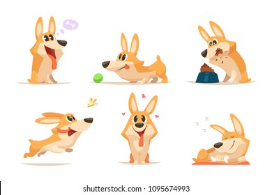 Cute cartoon funny puppy. Vector animal. Dog in various action poses. Illustration of pet animal funny, puppy friend cartoon