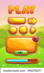 Cute cartoon game assets set, orange glossy buttons, panel and progress bar for GUI design on landscape background