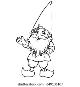 Cute Cartoon Garden Gnome. Vector Illustration. Outlined for coloring book.