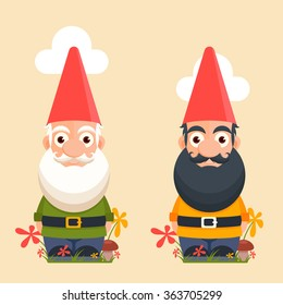 Cute Cartoon Garden Gnomes Standing Among the Flowers. Vector Illustration