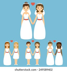 cute cartoon gay wedding couples holding hands