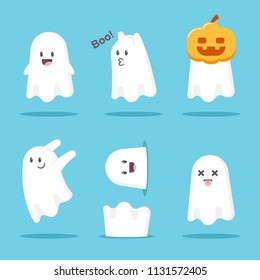 Cute cartoon ghost set. Vector Halloween funny character monster isolated on white background.