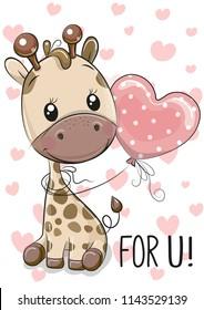 Cute Cartoon Giraffe with balloon on a hearts background