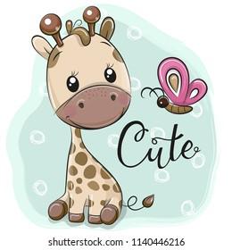 Cute Cartoon Giraffe and butterfly on a blue background