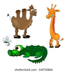 Cute Cartoon Giraffe Camel Crocodile and Fly.Vector Illustration
