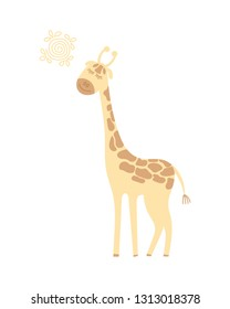 Cute cartoon giraffe. Giraffe with closed eyes stands in the sun and smiles. Isolated on white background. Vector illustration.