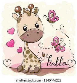 Cute Cartoon Giraffe with hearts and butterflies