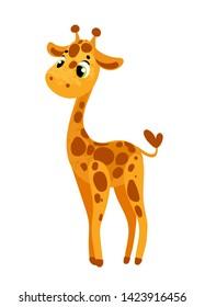 Cute cartoon giraffe. Vector illustration in children's style, for children's books, posters, stickers or room decor