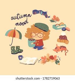 Cute cartoon girl with autumn elements. Autumn mood - Shutterstock ID 1782719063
