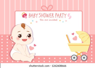 cute cartoon girl and baby shower invitation card with empty copy space