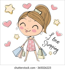 Cute cartoon girl with bags on a white background