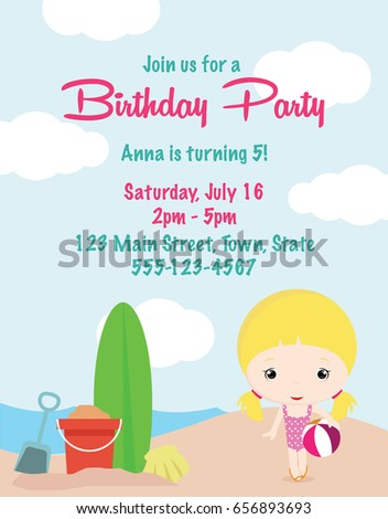 Cute cartoon girl birthday invitation card stock vector royalty cute cartoon girl birthday invitation card filmwisefo