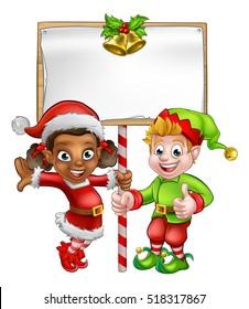 Cute cartoon girl and boy Christmas elf Santas helper characters holding a sign