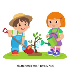 Cute Cartoon Girl And Boy Working In The Garden Vector Illustration. Kids Plant A Tree. Girl With Watering Can, Boy With A Shovel Vector. Spring Gardening.