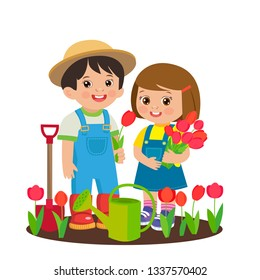 Cute Cartoon Girl And Boy Working In The Garden Vector. Girl With Watering Can, Boy With Shovel. Spring Gardening. Girl With Flower Bouquets Vector.Young Farmer With Tulip Flower In The Garden.