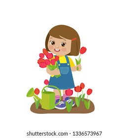Cute Cartoon Girl With Flower Bouquets Vector. Young Farmer Girl With Tulip Bouquet In The Garden. Colorful Simple Design Vector. Spring Gardening Vector Illustration.