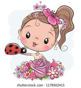 Cute Cartoon Girl with flowers on and ladybug a white background