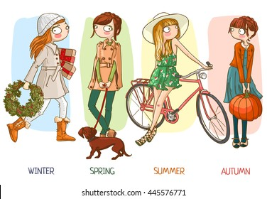 Cute cartoon girl and the four seasons. Vector illustration. Isolated on white background. Set