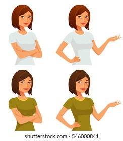 cute cartoon girl with her arms crossed or gesturing