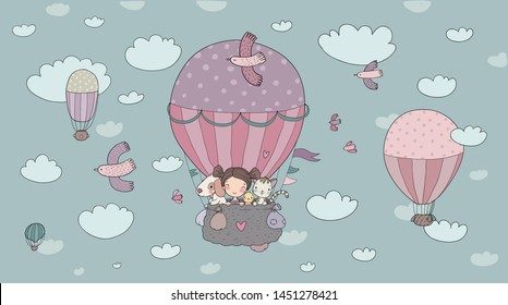 Cute cartoon girl and her friends are flying in a balloon. Little princess, chicken, cat and puppy