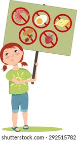 Cute cartoon girl holding a poster with warning signs for typical food allergens: shellfish, peanuts, eggs, dairy and fruits, vector illustration, EPS 8