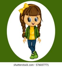 Cute Cartoon Girl Illustration Wearing Sport Clothes