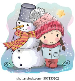Cute Cartoon Girl in a knitted cap and a coat and snowman