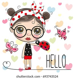 Cute Cartoon Girl with a ladybug and butterflies