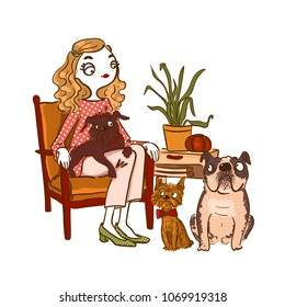 Cute cartoon girl with pets. Vector illustration