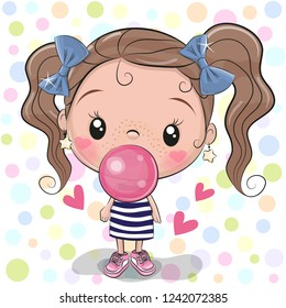 Cute Cartoon Girl with pink bubble gum