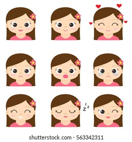 Cute cartoon girl in pink with different emotions. Vector set of emoji and emoticons.