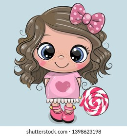 Cute Cartoon Girl in a pink dress with Lollipop