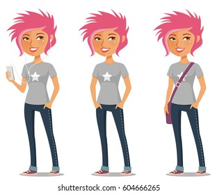 cute cartoon girl with pink hair in casual outfit