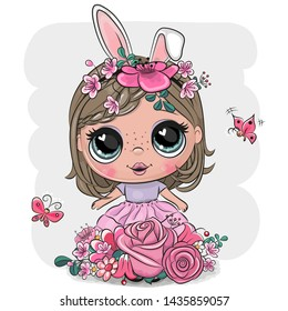 Cute Cartoon Girl with rabbit ears and flowers on a white background