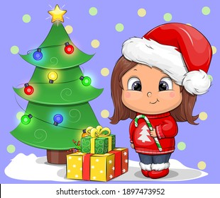 Cute cartoon girl in Santa hat holding candy cane. Christmas vector illustration with gifts and tree.