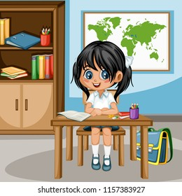 Cute Cartoon Girl Sitting At Desk With Bookshelf World Map And School Supplies Little
