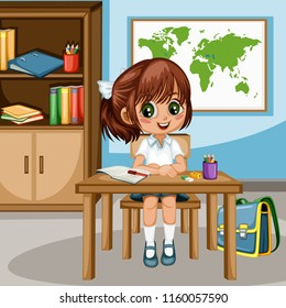 Child world map stock vectors images vector art shutterstock cute cartoon girl sitting at desk with bookshelf world map and school supplies little gumiabroncs Choice Image