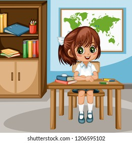 Cute Cartoon Girl Sitting at Desk with  Bookshelf, World Map and School Supplies. Little Student in Classroom Studying. Vector Illustration of a Female Pupil at the Table